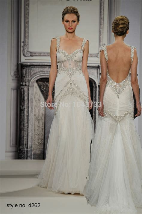 wedding dress beaded straps pnina tornai mermaid beaded wedding dresses with