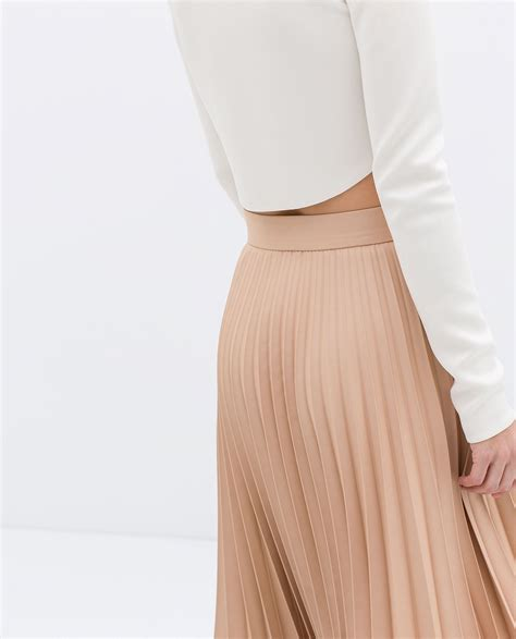 zara coated pleated skirt in pink lyst