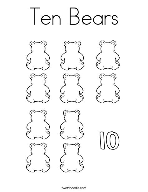 coloring pages of number 10 coloring pages ten bears coloring page twisty noodle