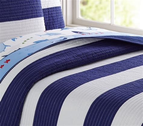 rugby stripe bedding rugby stripe quilted bedding pottery barn kids