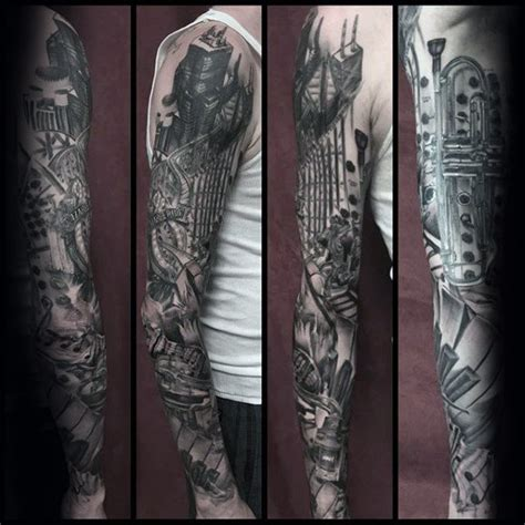 black and grey music tattoos 60 music sleeve tattoos for men lyrical ink design ideas
