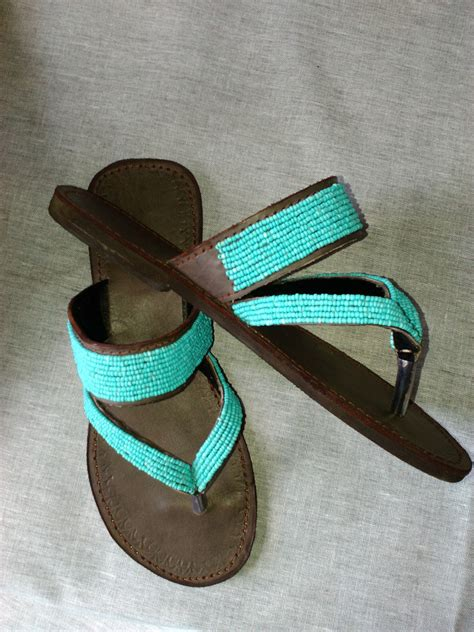 Handmade Leather Sandals South Africa - azure real leather handmade beaded wedge or
