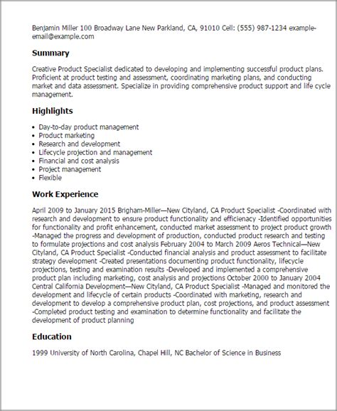 Product Development Specialist Cover Letter by Professional Product Specialist Templates To Showcase Your Talent Myperfectresume