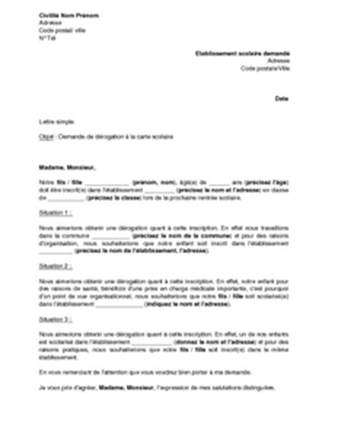 Exemple gratuit de Lettre demande dérogation à carte