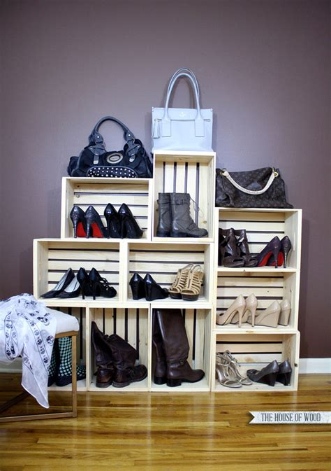 33 shoe storage ideas diy wooden crate shoe rack easy shoe storage display the house of wood