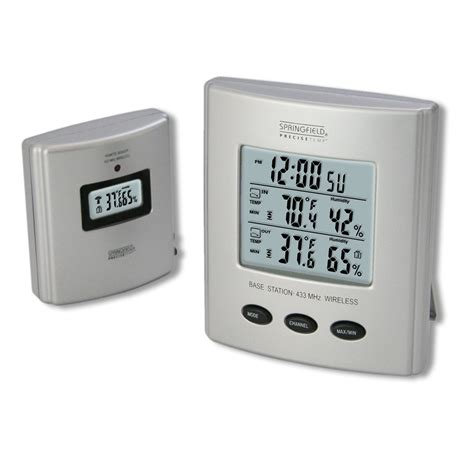 springfield 91756 wireless thermometer with indoor outdoor temperature humidity ebay