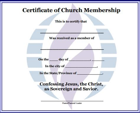 church certificate templates best photos of church membership certificate template