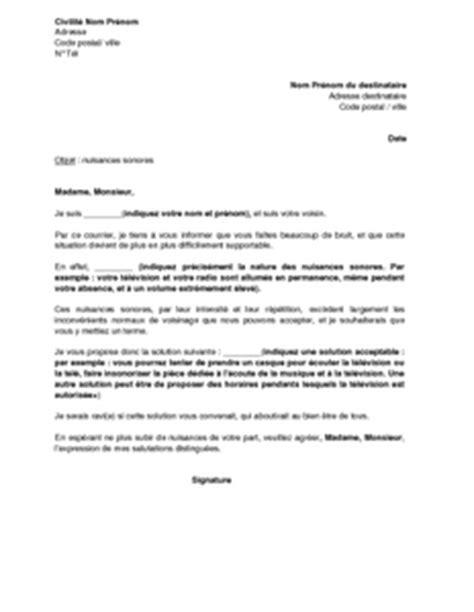 Exemple De Lettre Nuisance Sonore lettre de r 233 clamation pour nuisances sonores du fait du