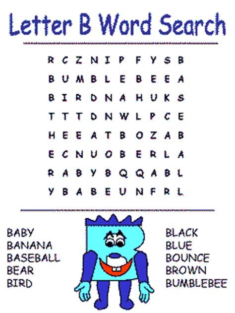 B Search Printable Alphabet Word Search