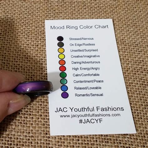 color mood chart mood ring magnetic hematite band size 6 7 8 9 with mood