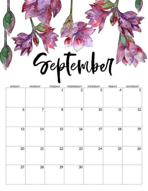 printable calendar floral  printable calendar september calendar  calendar
