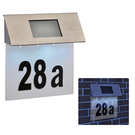 solar light house numbers stainless steel 4 led solar powered house door number