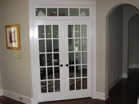 Interior double french doors traditional home office