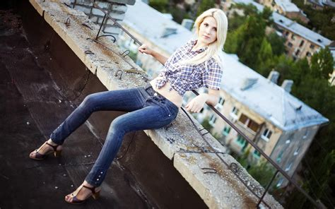 creative wallpaper girl jeans blonde girl jeans shirt fashion wallpaper other