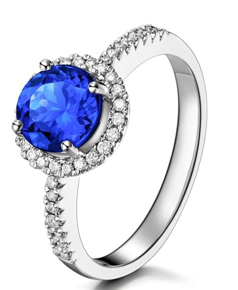 beautiful 1 carat blue sapphire and halo
