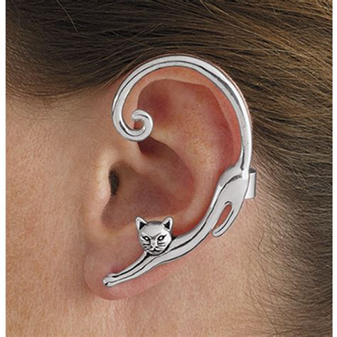 B2302 Anting Hooks Fashion Silver antiqued silverplate single cat post earring with ear cuff