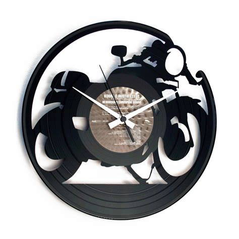 Handmade Wall Clock - cafe racer handmade vinyl wall clock with motorbike