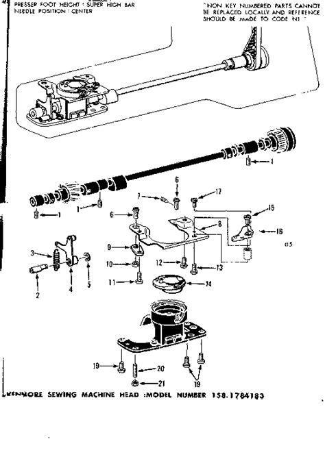kenmore sewing machine parts diagram bobbin diagram parts list for model 1581784183
