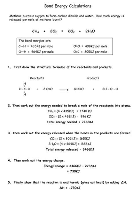 Energy Calculations Worksheet by Bond Energy By Chemistry Teacher Teaching Resources Tes