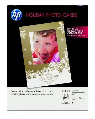 hp printable christmas cards hp holiday photo cards 5x7 20 sheets with envelopes