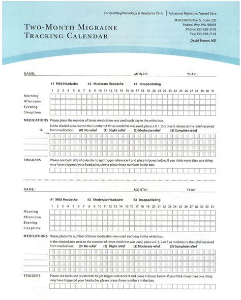 printable migraine diary template headache chart template headache chart template ayucar