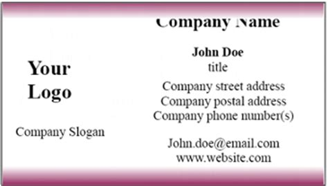 Free Microsoft Word Business Card Template blank business card template