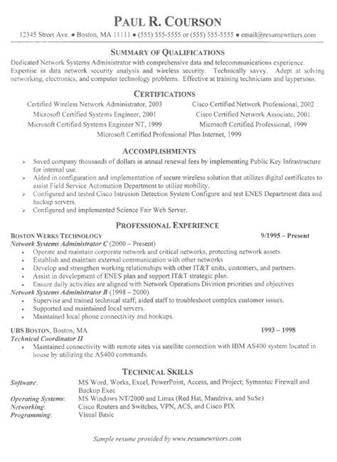 Resume Exles It It Specialist Resume Exle Sle Network Systems Resumes
