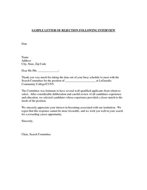 Rejection Letter After Trial best photos of exle of rejection letter