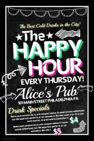 happy hour sign template bar flyer templates postermywall