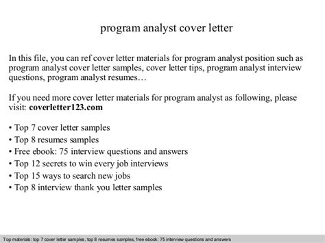 Program Analyst Cover Letter by Program Analyst Cover Letter