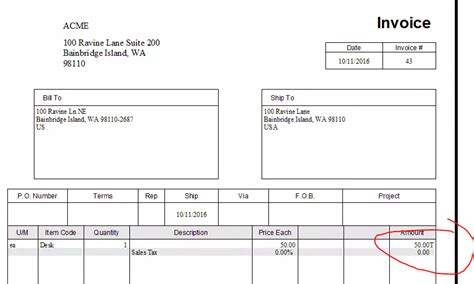 Quickbooks Invoice Letter why is there a letter quot t quot after taxable line amounts on our quickbooks invoice print outs