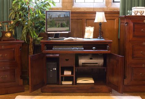 Nara Solid Mahogany Furniture Hidden Home Office Hideaway Mahogany Home Office Furniture
