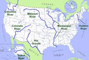 us map with states and lakes major rivers of the united states it all
