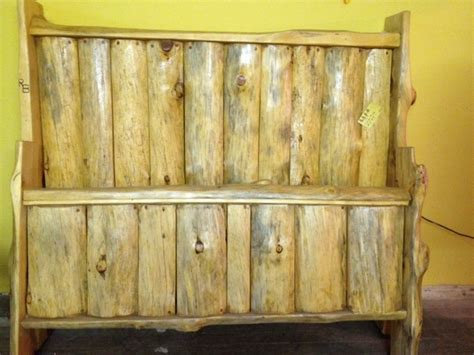 front view of split log headboard and footboard ideas