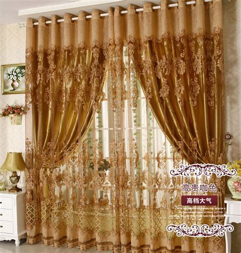Fancy Living Room Curtains Free Shipping European Style Fashion Fancy Design Tulle Curtain With Blackout Shade Curtains For