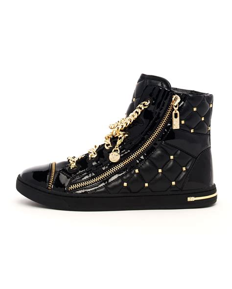 michael shoes michael kors chainlace quilted hightop in metallic lyst