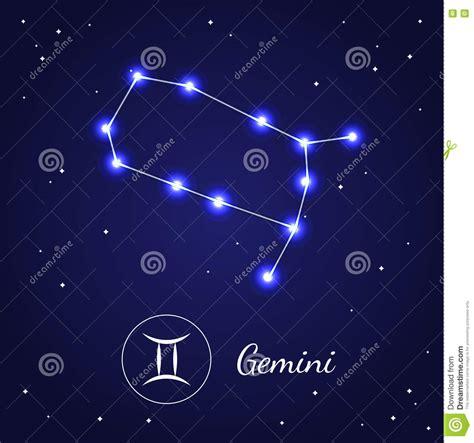 gemini zodiac sign stars on the cosmic sky vector stock
