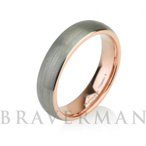gold mens tungsten carbide wedding band ring 5mm 14k