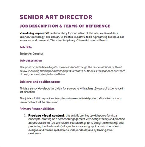 job description for layout artist 10 art director job description templates free sle