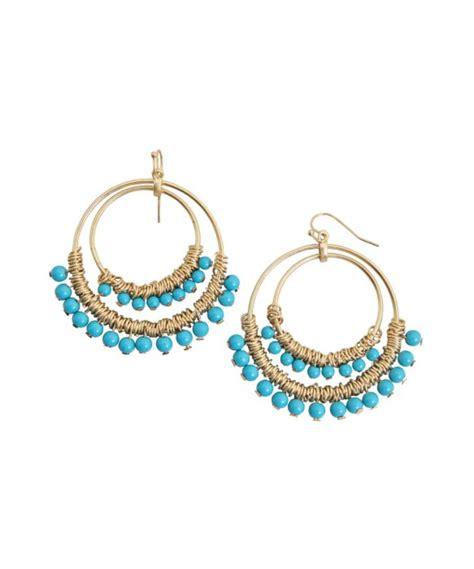 kenneth turquoise beaded hoop earring