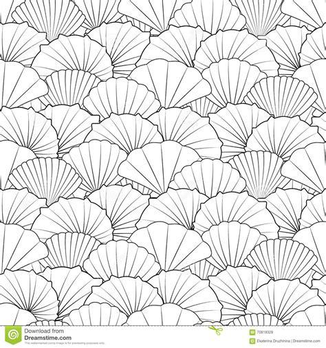 seamless pattern line art shells seamless pattern stock vector image 70818328