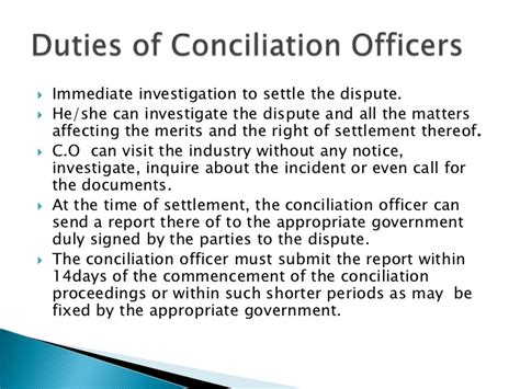 Duties Of Er by Duties And Responsibilities Of Conciliation Oficer