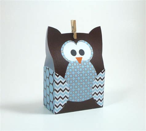 Owl Paper Bag Craft - diy owl gift bag template blue brown by littlestuffme