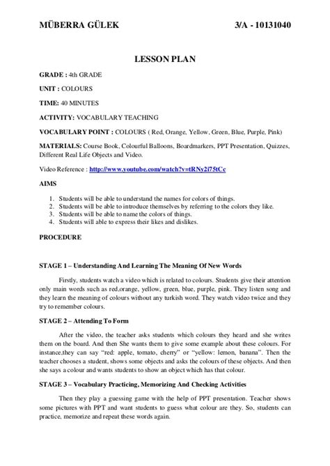 vocabulary lesson plan template teaching vocabulary lesson plan for learners