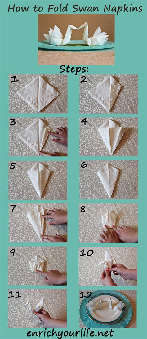 How To Make Napkin Origami - how to fold a swan napkin step by step enrichyourlife net