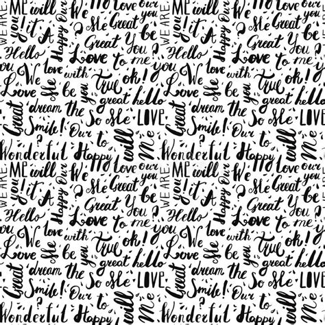 pattern of the words handwritten vintage ink words vector seamless pattern with