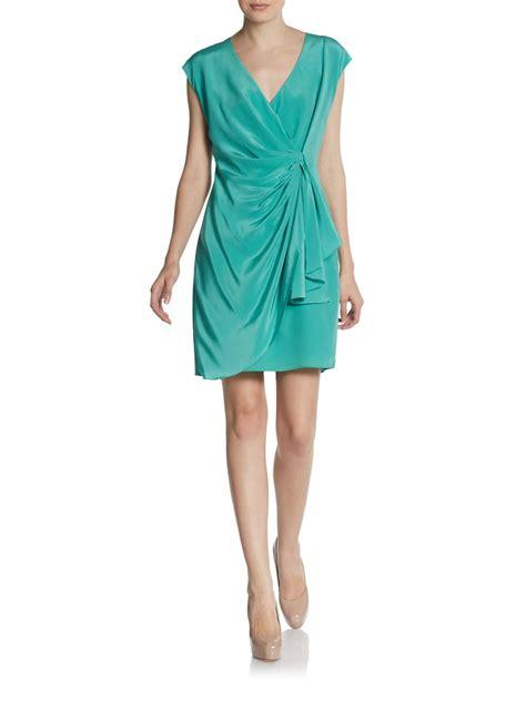 silk drape dress rachel zoe hannah drape front silk dress in green mint