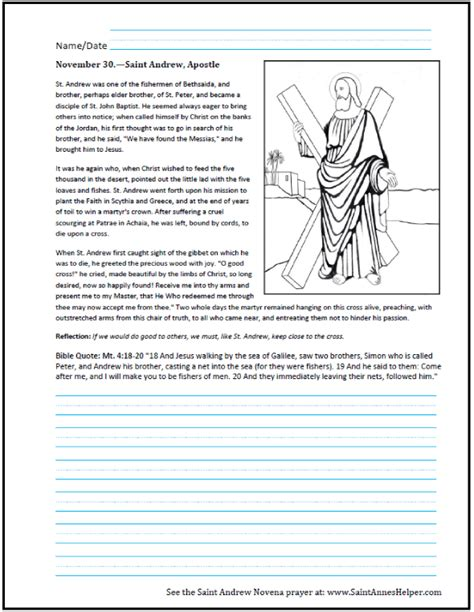 saint andrew the apostle prayer coloring worksheet