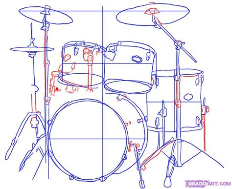 tutorial drum set how to draw drums step by step percussion musical