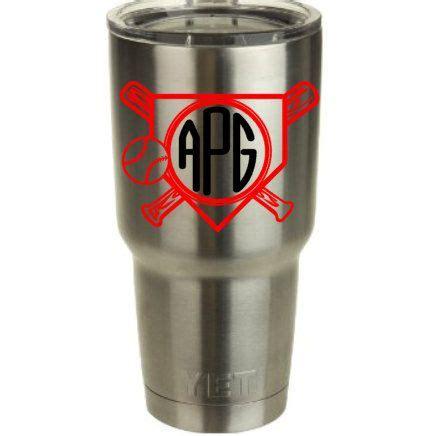 Baseball Cup Topi 3 baseball monogram vinyl decal for yeti cup tumbler by redandthepug on etsy the